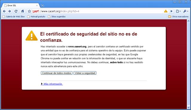 Problema con el certificado de Chrome[Solución]