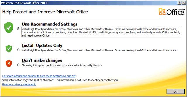 ejecutar cualquier programa de office preguntará si desea instalar