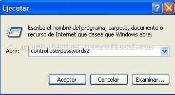 Ventana Ejecutar Windows XP