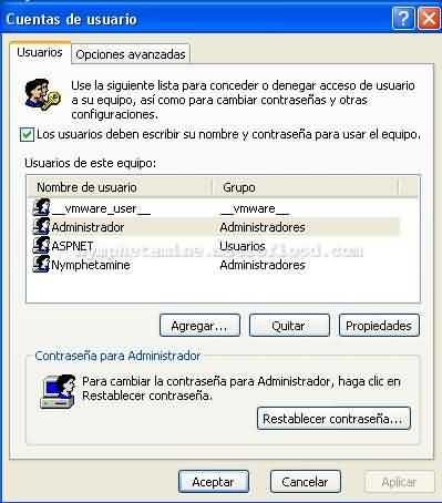 Ventana administracion cuentas userpasswords2
