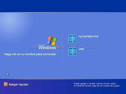 Pantalla de bienvenida de Windows XP con 2 cuentas