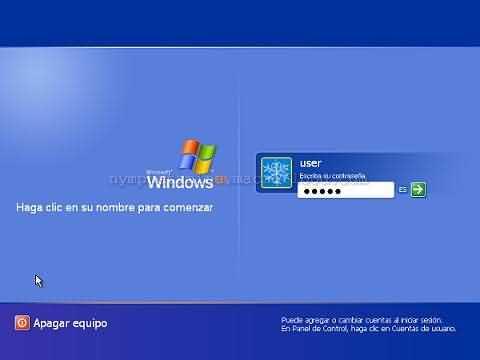 Pantalla de bienvenida de Windows XP con 1 cuenta protegida por password
