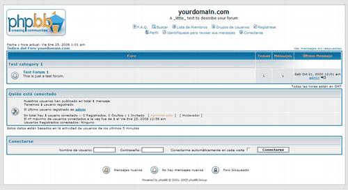 Instalacion fresca de phpBB2 (vanilla)