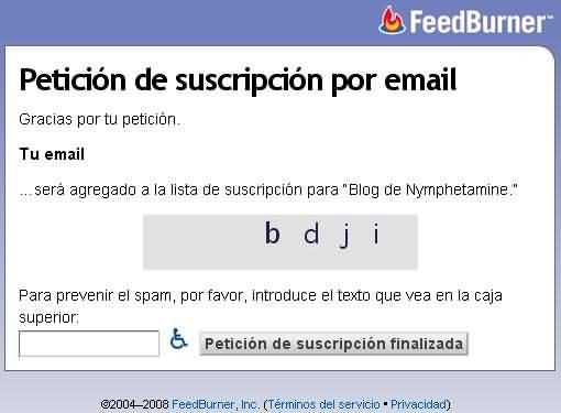 Suscripcion por email, paso 2