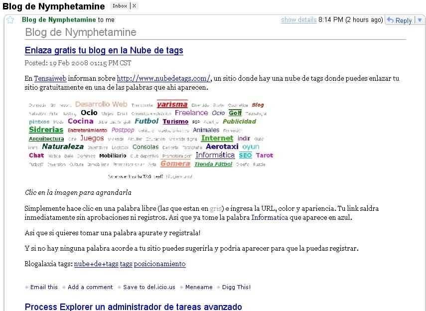 Suscripcion por email a los feeds de mi blog