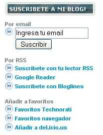 Opciones suscripcion RSS o email
