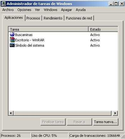 Administrador de tareas Windows XP
