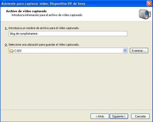 Asistente captura video PASO 2, seleccion ubicacion guardado archivos