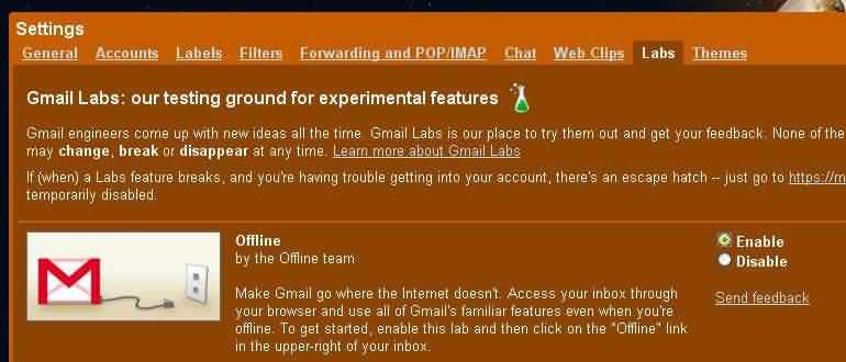Opciones Labs de Gmail